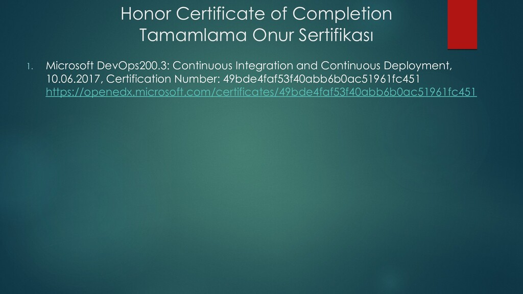 Honor Certificate of Completion Tamamlama Onur ...