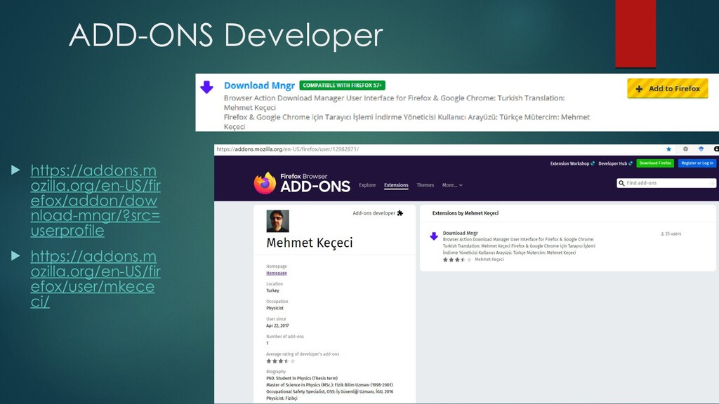 ADD-ONS Developer  https://addons.m ozilla.org...