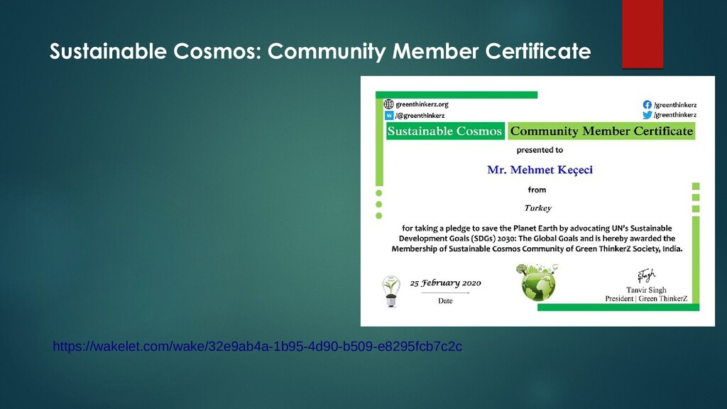 Sustainable Cosmos: Community Member Certificat...