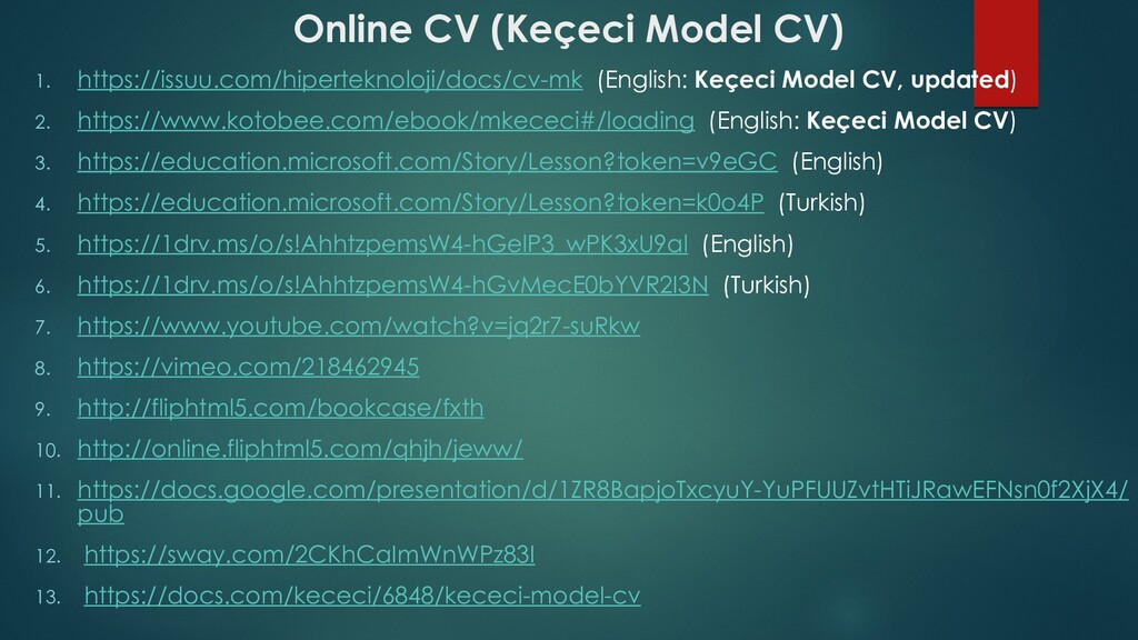 Online CV (Keçeci Model CV) 1. https://issuu.co...