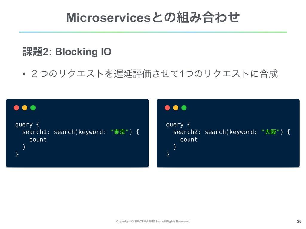 !25 MicroservicesͱͷΈ߹Θͤ ՝2: Blocking IO • ̎ͭͷ...