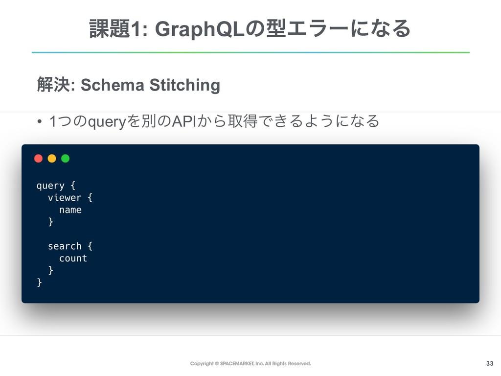 !33 ՝1: GraphQLͷܕΤϥʔʹͳΔ ղܾ: Schema Stitching •...