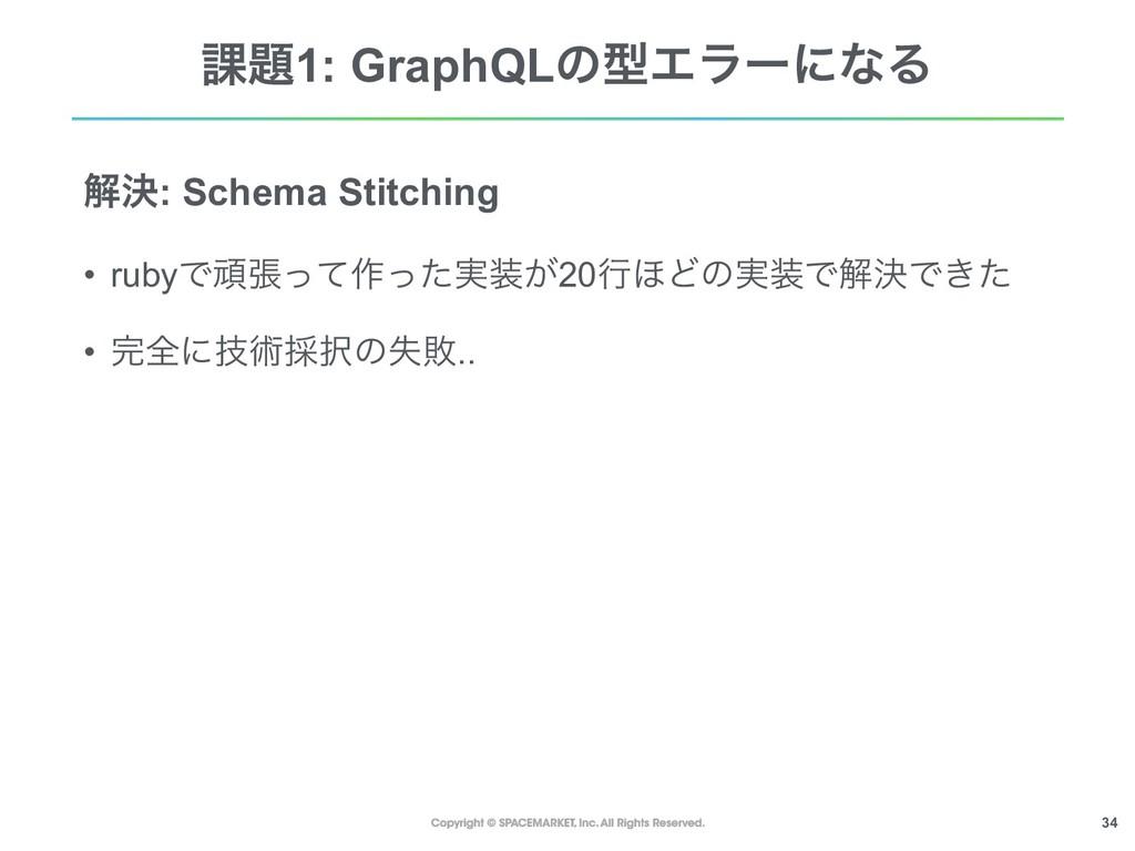 !34 ՝1: GraphQLͷܕΤϥʔʹͳΔ ղܾ: Schema Stitching •...