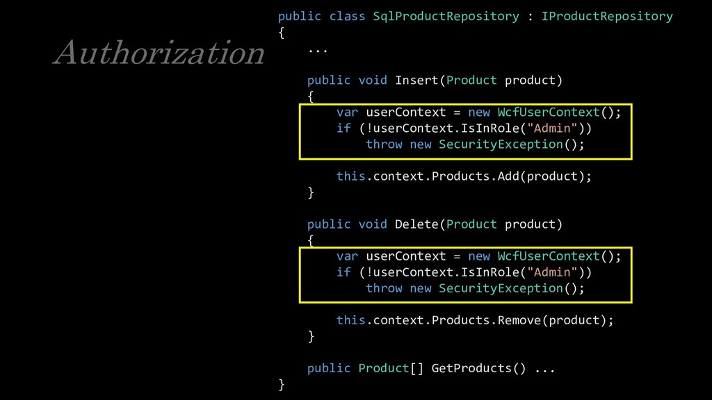 Authorization public class SqlProductRepository...