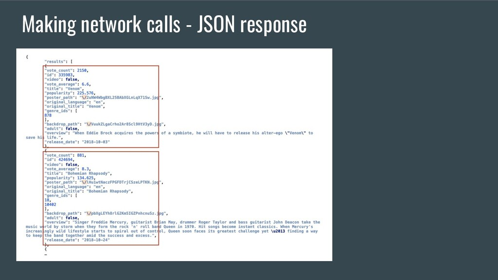 Making network calls - JSON response