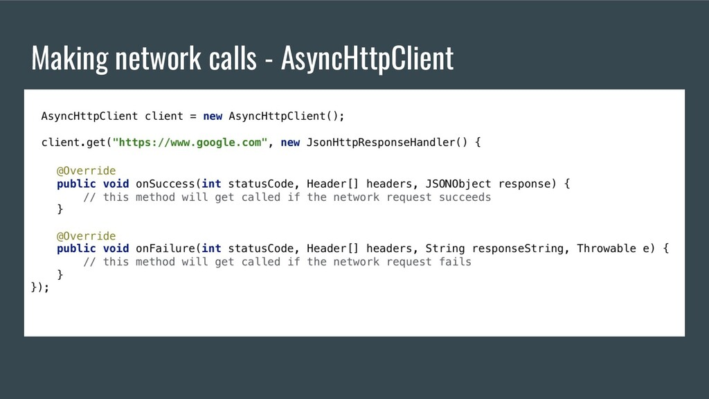 Making network calls - AsyncHttpClient