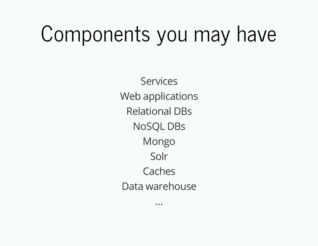Components you may have Services Web applicatio...