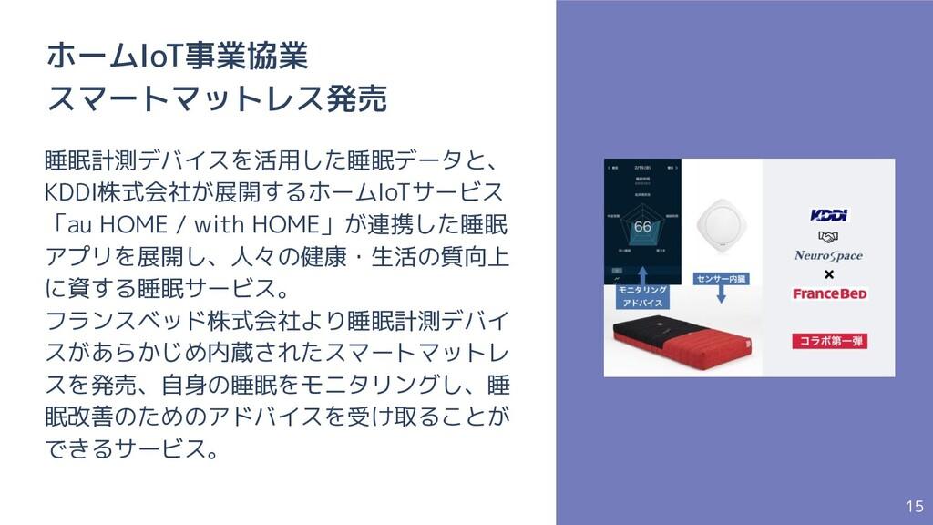 15 ホームIoT事業協業 スマートマットレス発売 睡眠計測デバイスを活用した睡眠データと、 ...