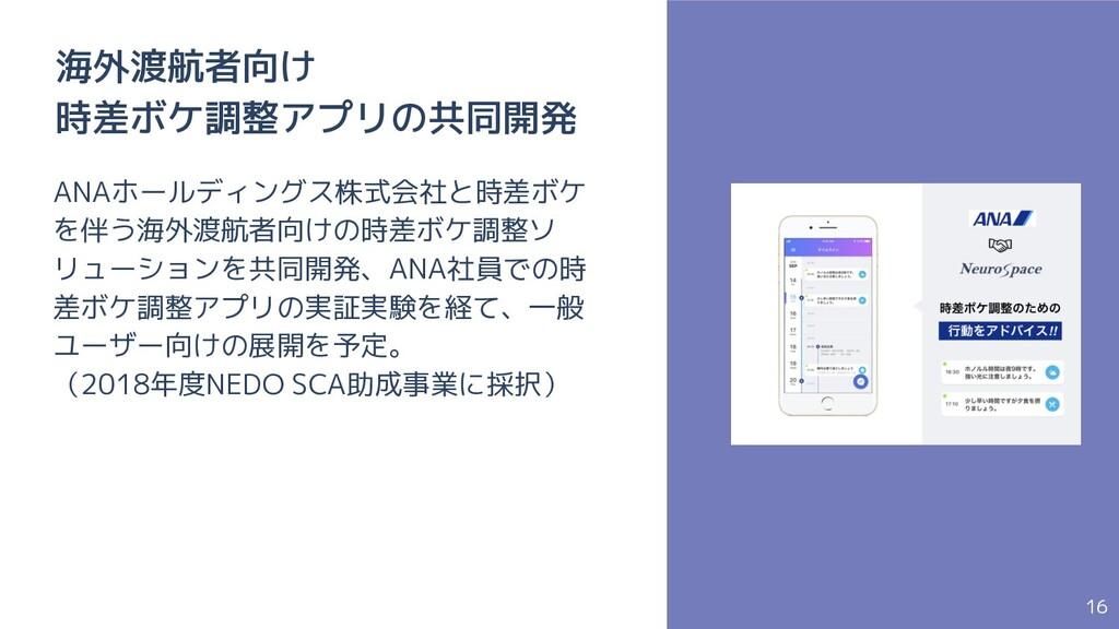 16 海外渡航者向け 時差ボケ調整アプリの共同開発 ANAホールディングス株式会社と時差ボケ ...