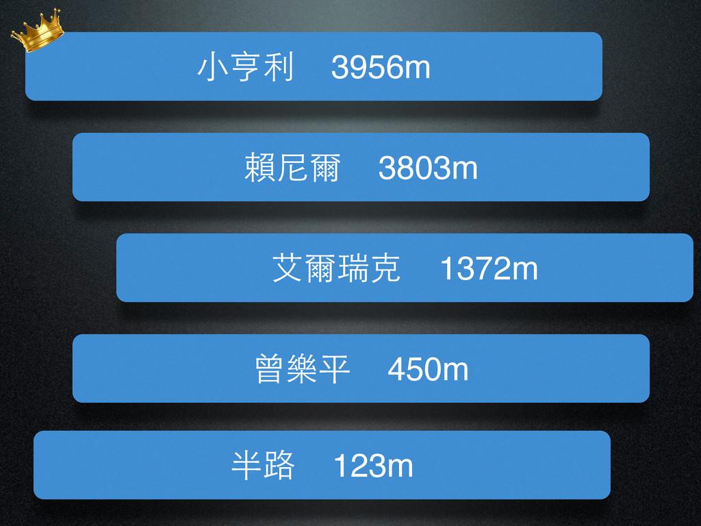 曾樂平 450m 半路 123m 賴尼爾 3803m 艾爾瑞克 1372m ⼩小亨利 3956m