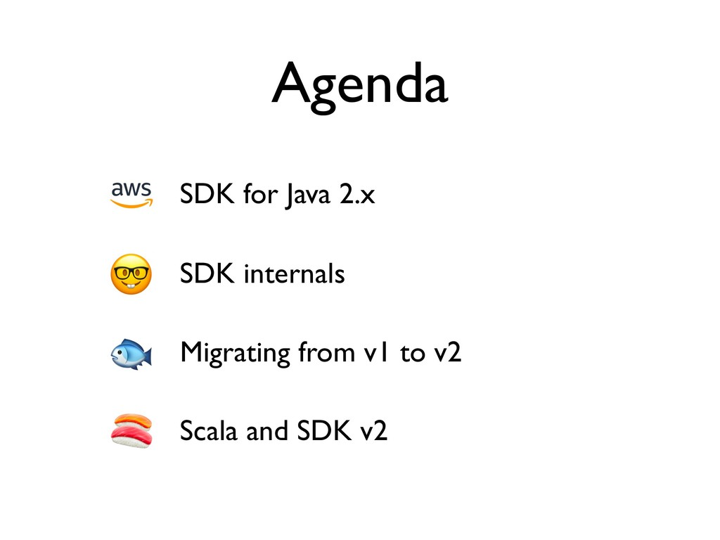 Agenda SDK for Java 2.x SDK internals Migrating...