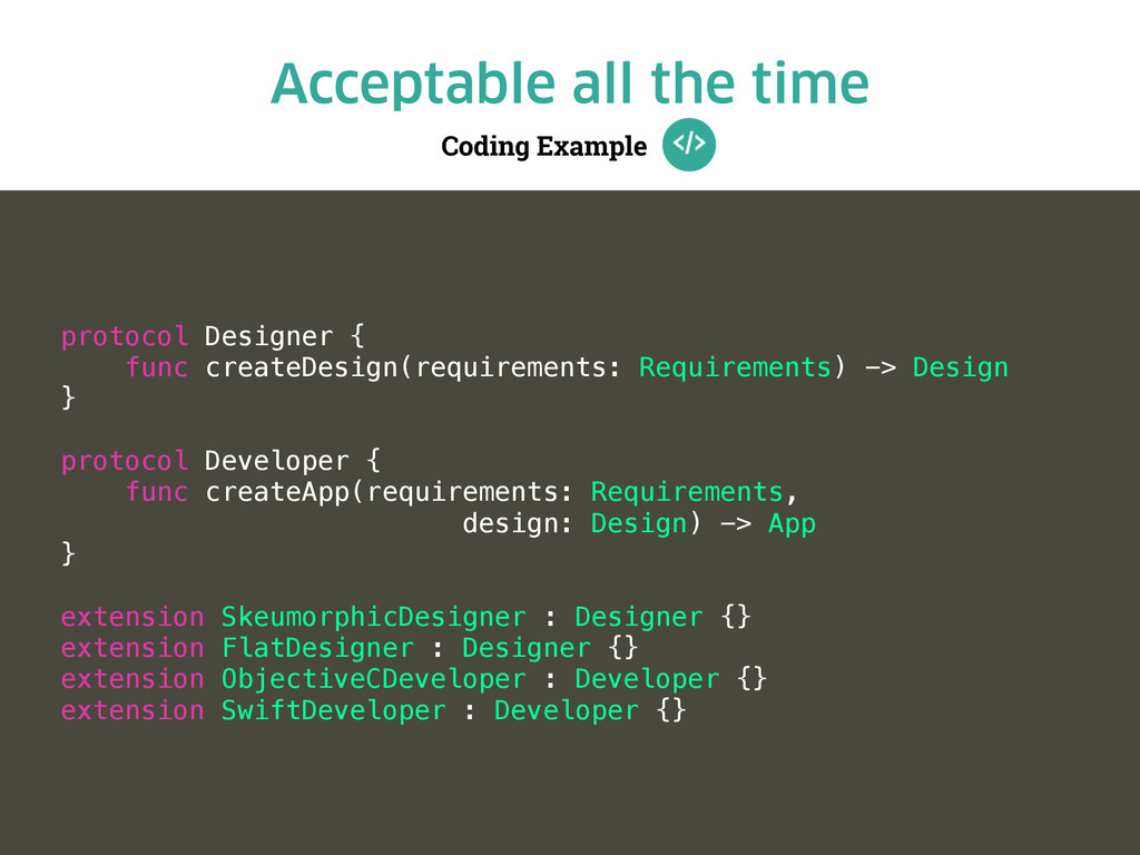 Coding Example Acceptable all the time protocol...