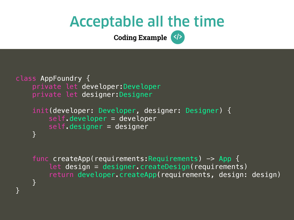 Coding Example Acceptable all the time class Ap...