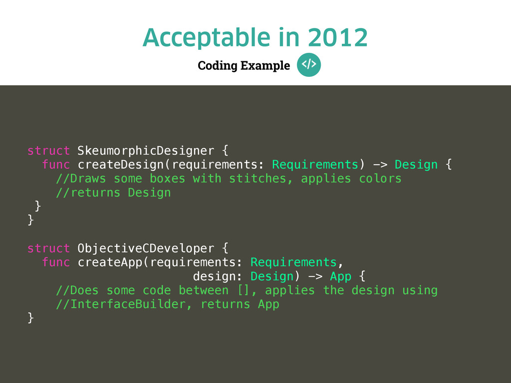 Coding Example Acceptable in 2012 struct Skeumo...