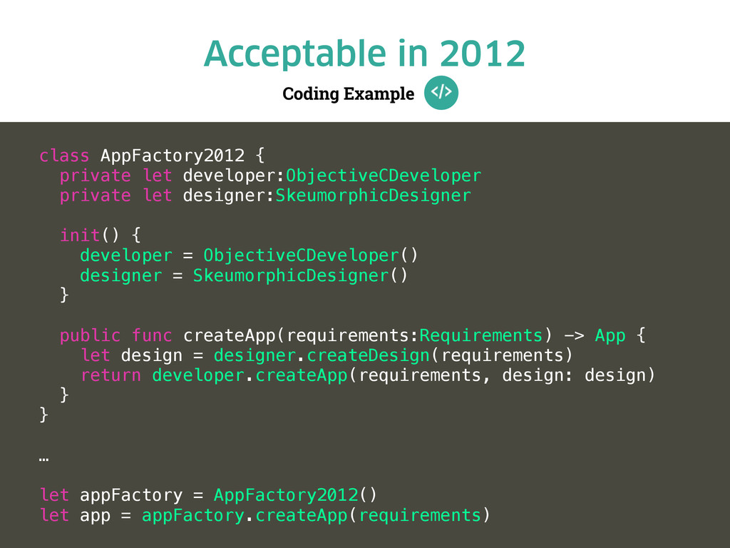 Coding Example Acceptable in 2012 class AppFact...