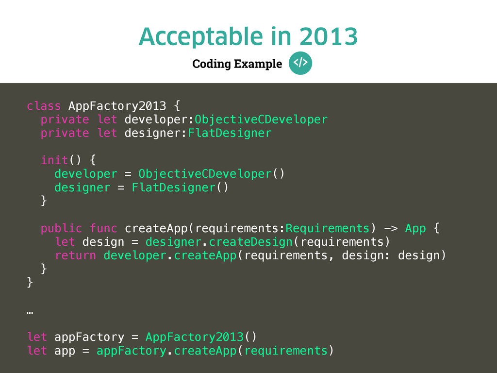 Coding Example Acceptable in 2013 class AppFact...