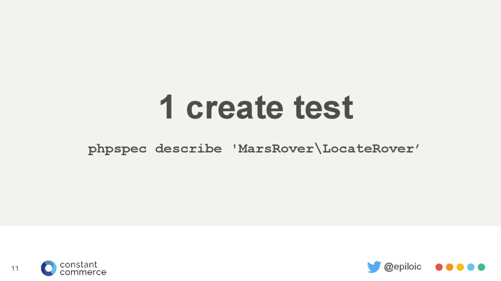 1 create test phpspec describe 'MarsRover\Locat...