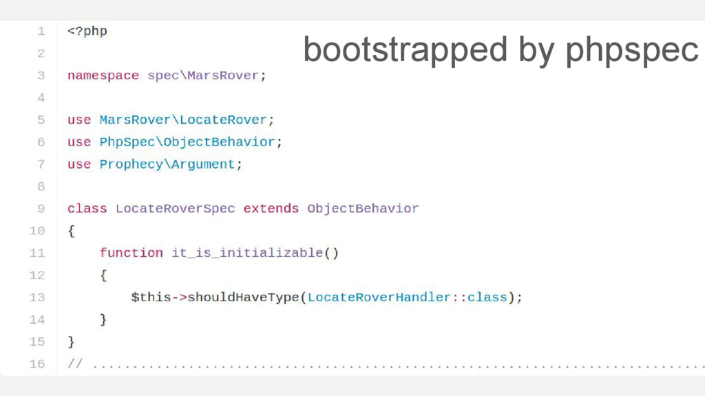 bootstrapped by phpspec