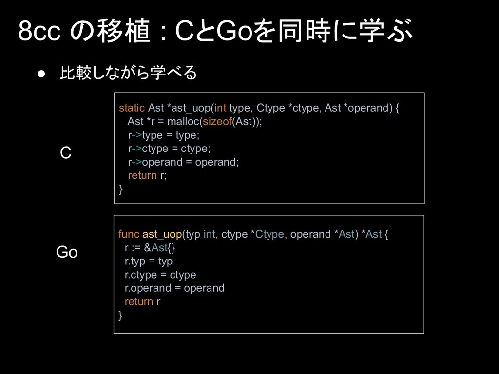 8cc の移植 : CとGoを同時に学ぶ static Ast *ast_uop(int ty...