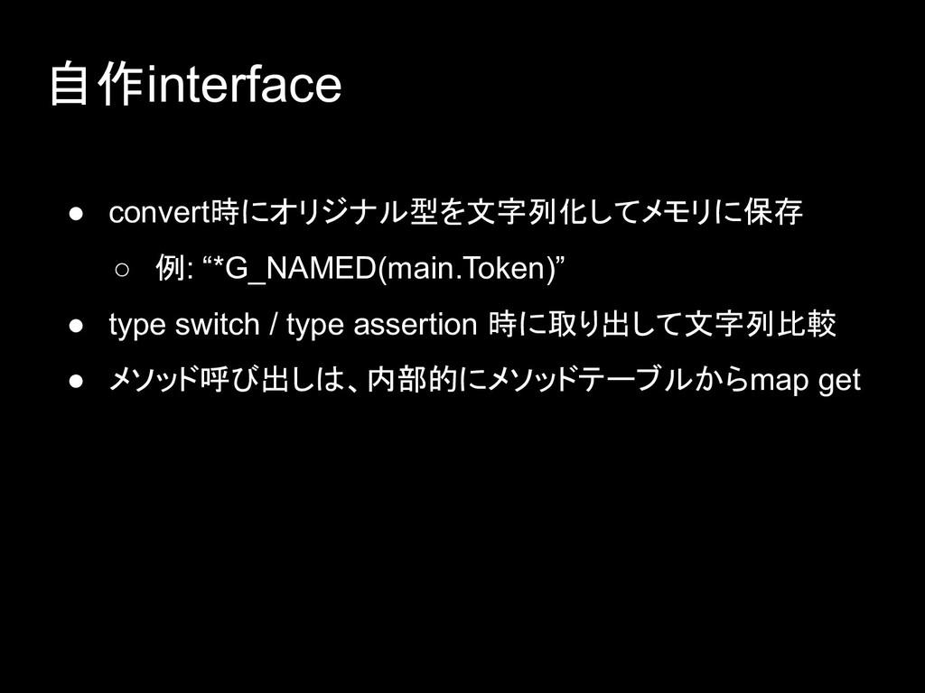 自作interface ● convert時にオリジナル型を文字列化してメモリに保存 ○ 例:...