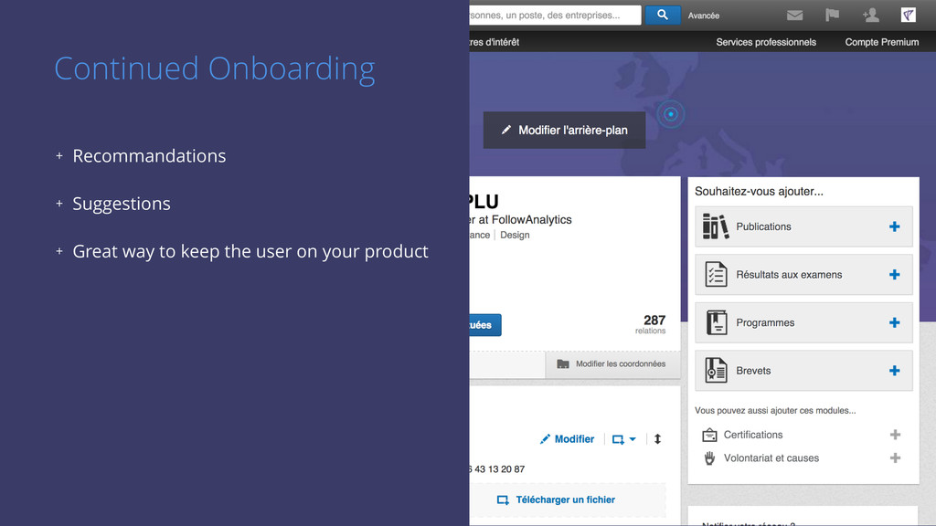 Continued Onboarding + Recommandations + Sugges...
