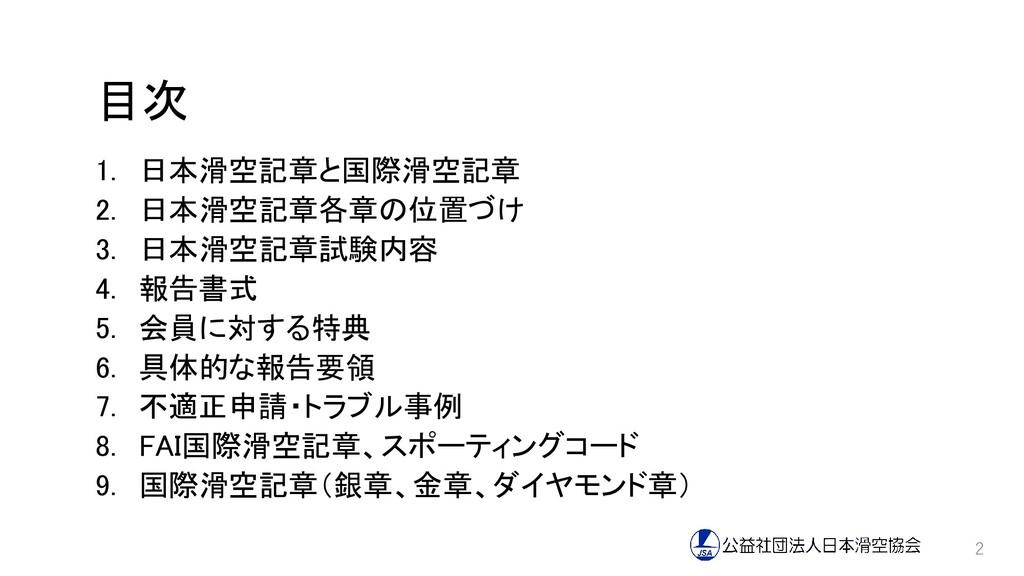 目次 1. 日本滑空記章と国際滑空記章 2. 日本滑空記章各章の位置づけ 3. 日本滑空記章試...
