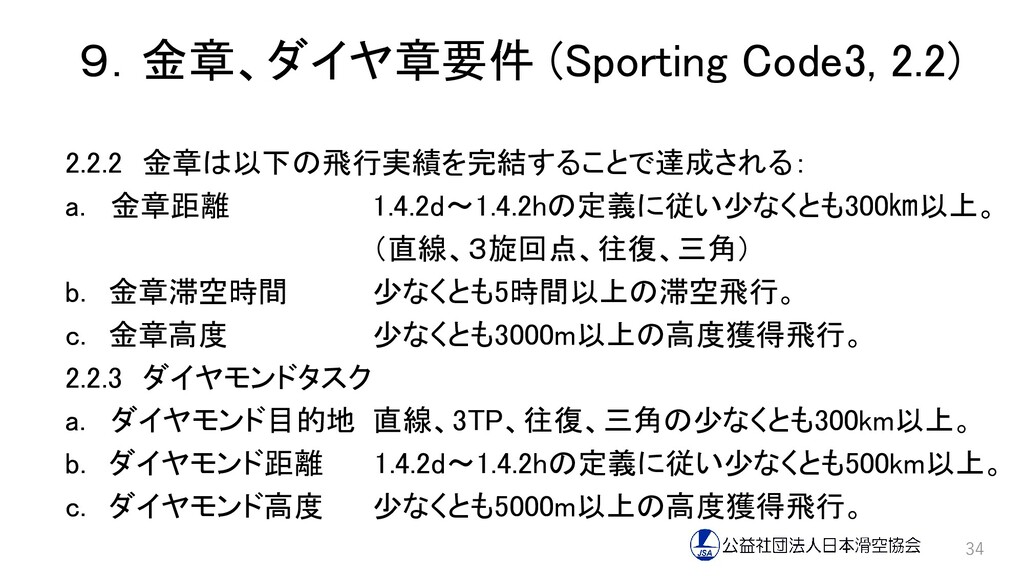 9.金章、ダイヤ章要件 (Sporting Code3, 2.2) 2.2.2 金章は以下の飛...