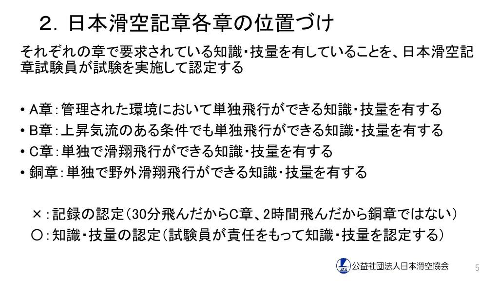 2.日本滑空記章各章の位置づけ それぞれの章で要求されている知識・技量を有していることを、日本...