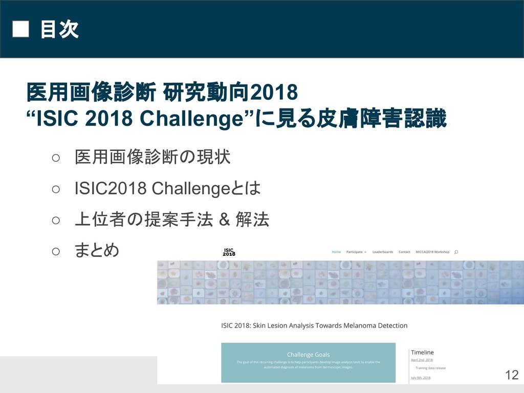 """目次 12 医用画像診断 研究動向2018 """"ISIC 2018 Challenge""""に見る皮..."""