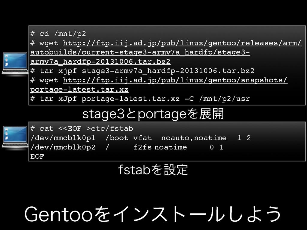 (FOUPPΛΠϯετʔϧ͠Α͏ # cd /mnt/p2 # wget http://ftp...