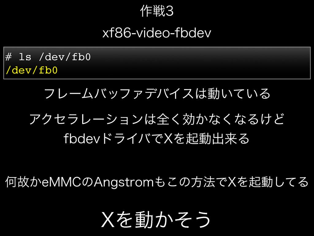 9Λಈ͔ͦ͏ YGWJEFPGCEFW ࡞ઓ # ls /dev/fb0 /dev/...