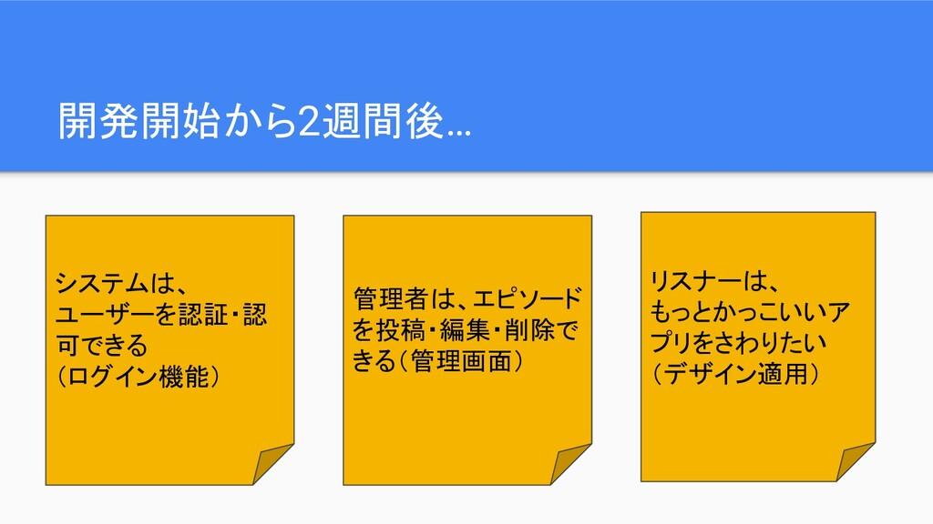 開発開始から2週間後… システムは、 ユーザーを認証・認 可できる (ログイン機能) 管理者は...