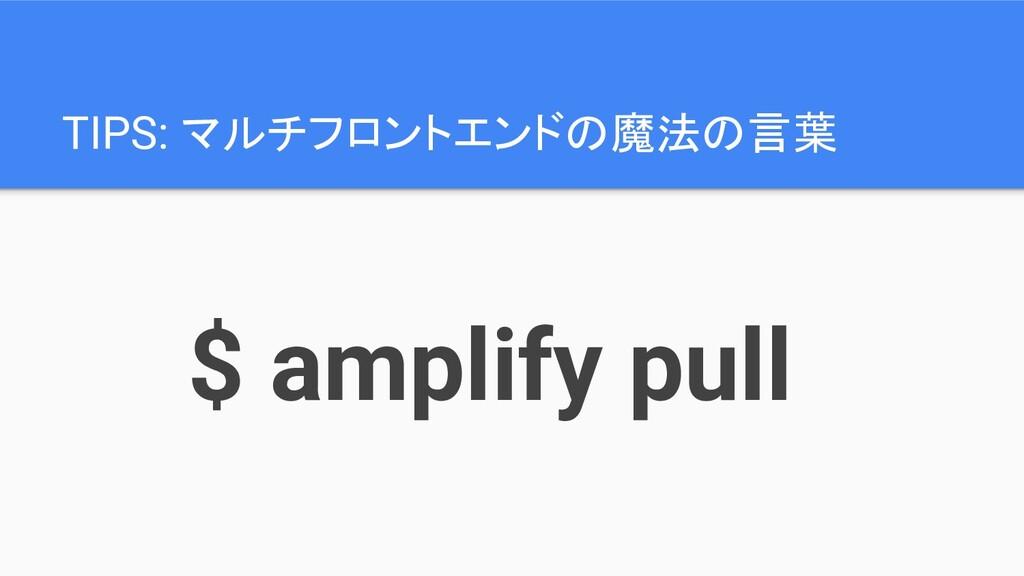 TIPS: マルチフロントエンドの魔法の言葉 $ amplify pull