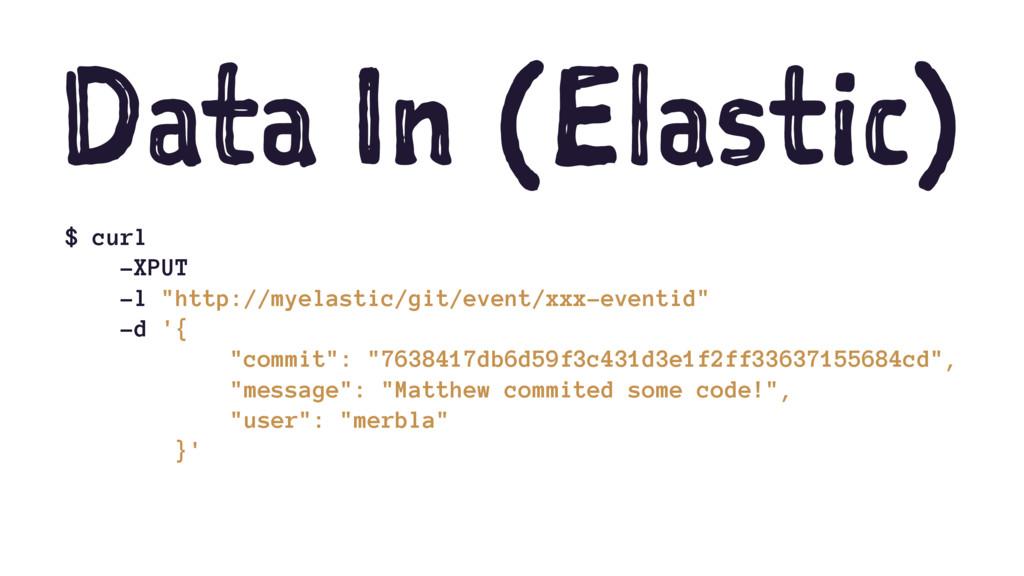 "Data In (Elastic) $ curl -XPUT -l ""http://myela..."