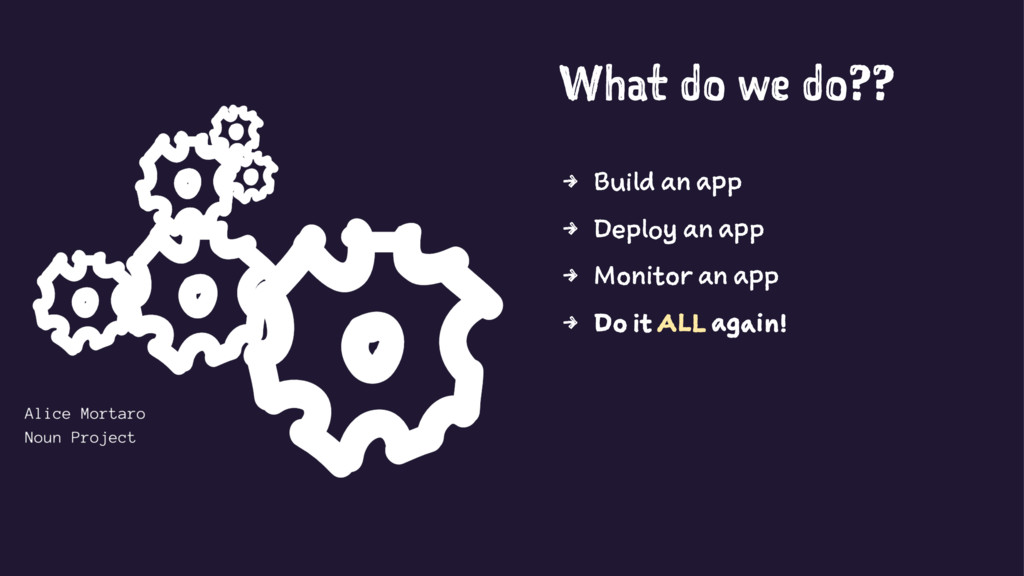 What do we do?? 4 Build an app 4 Deploy an app ...