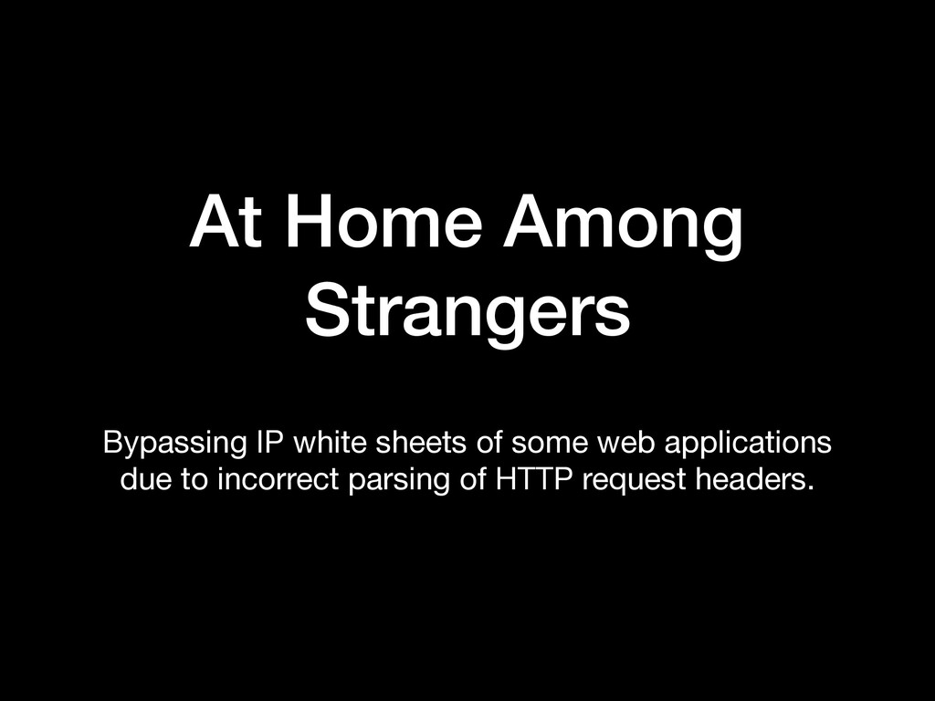 At Home Among Strangers Bypassing IP white shee...
