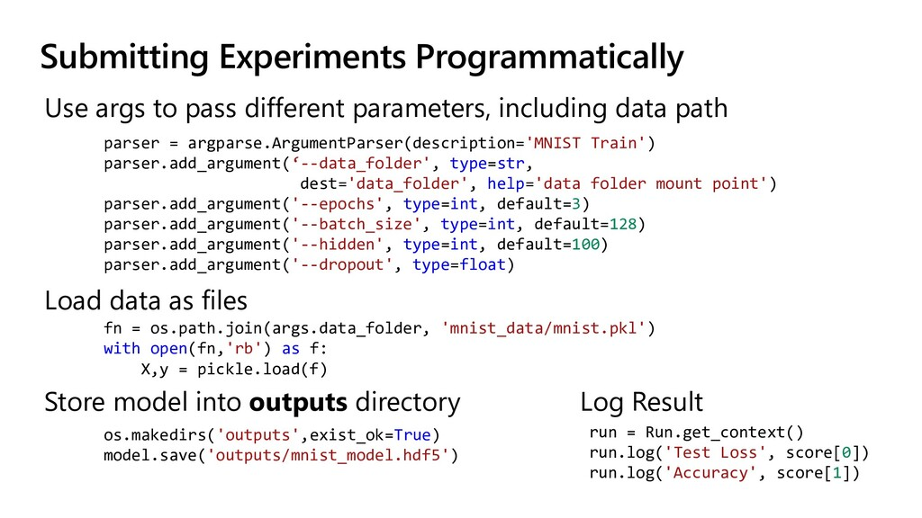 Submitting Experiments Programmatically Use arg...