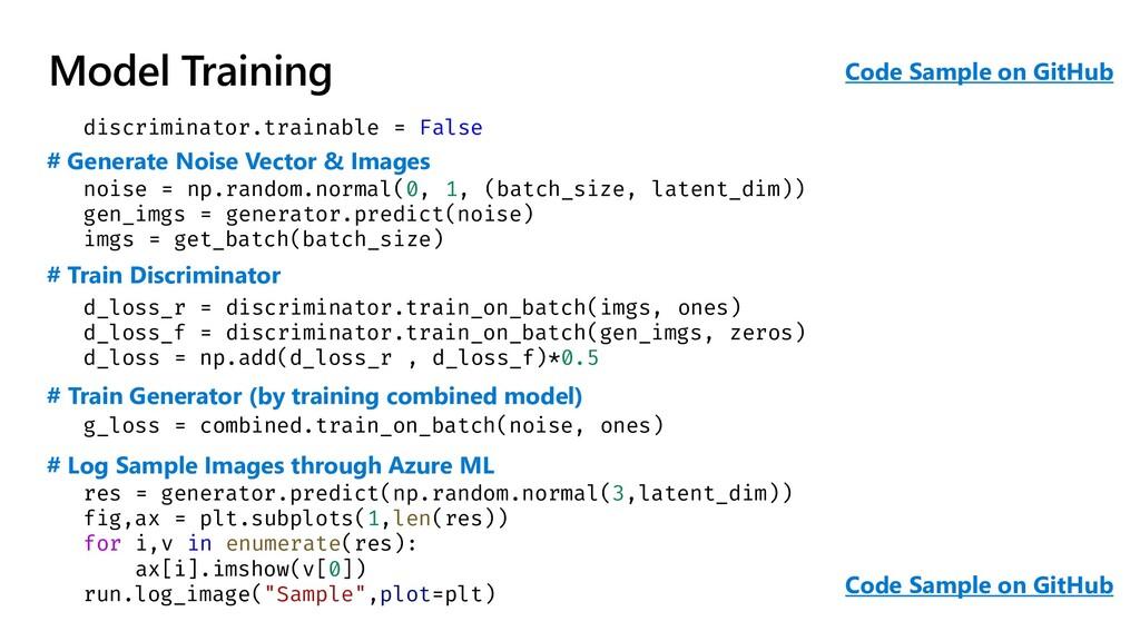Model Training discriminator.trainable = False ...
