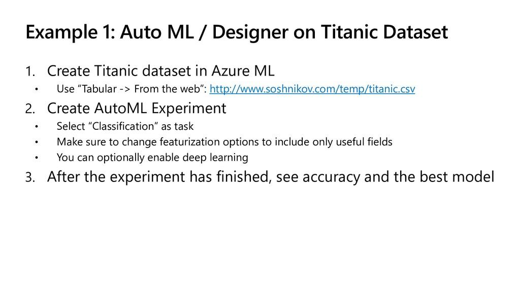 Example 1: Auto ML / Designer on Titanic Datase...