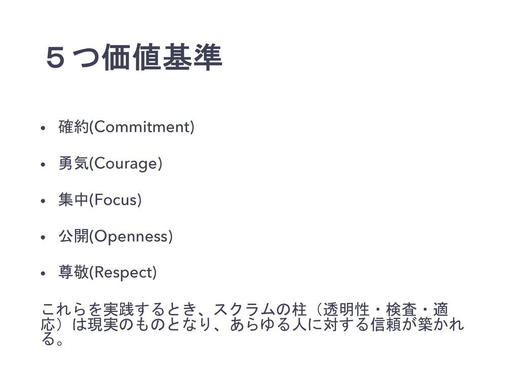 5つ価値基準 • 確約(Commitment) • 勇気(Courage) • 集中(Focu...
