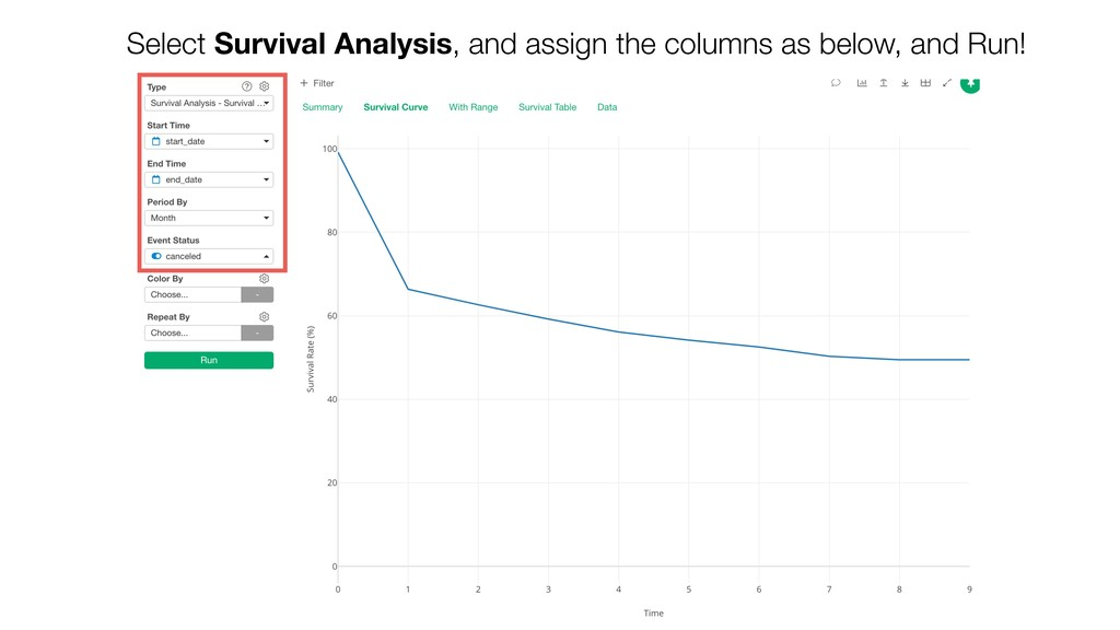 Select Survival Analysis, and assign the column...