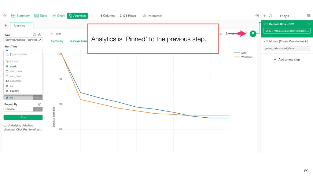 69 Analytics is 'Pinned' to the previous step.