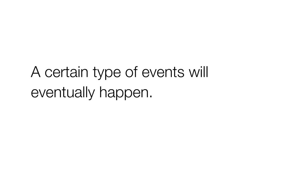 A certain type of events will eventually happen.