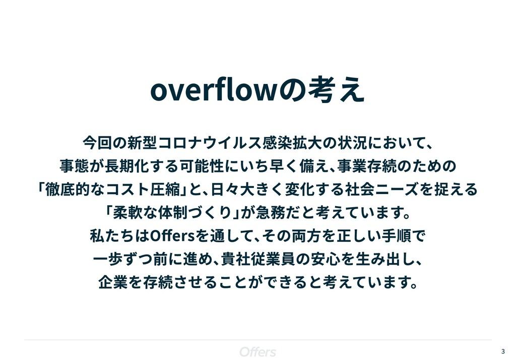 3 overflowの考え 今回の新型コロナウイルス感染拡大の状況において、  事態が長期化す...