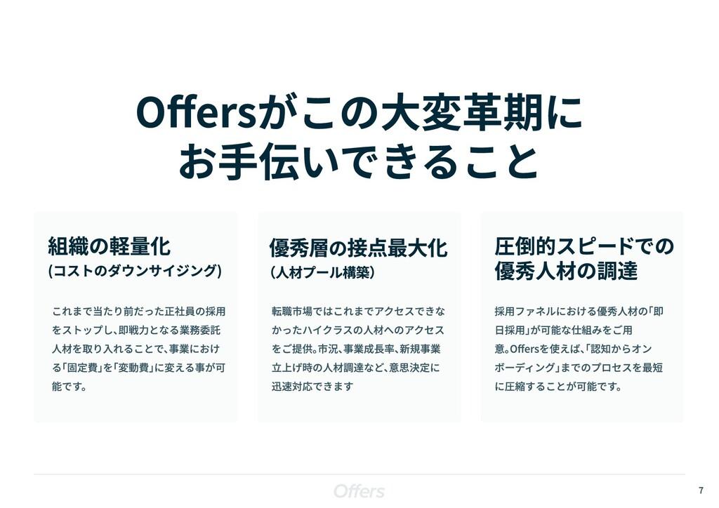 7 Offersがこの大変革期に  お手伝いできること 組織の軽量化  (コストのダウンサイジ...