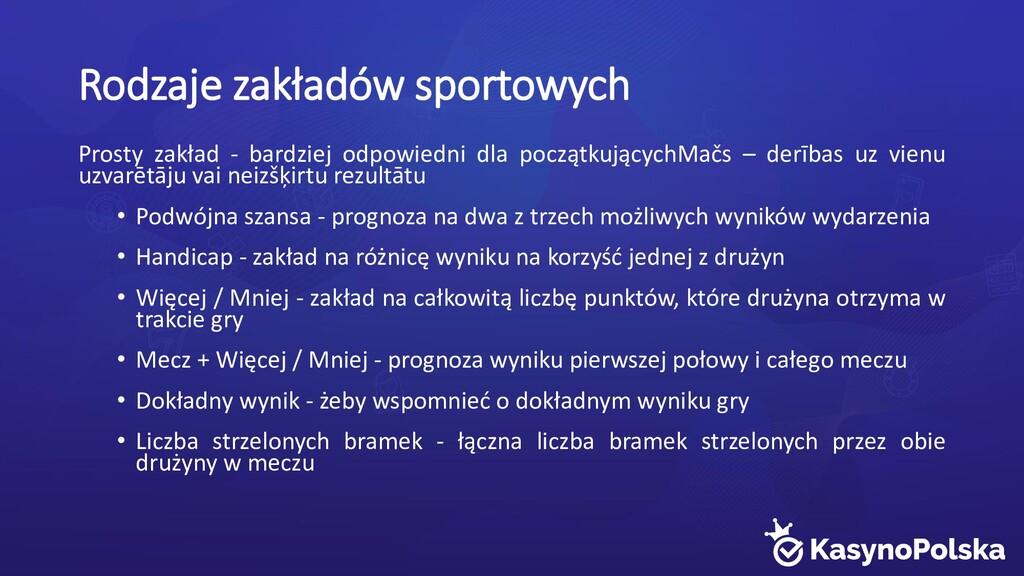 Rodzaje zakładów sportowych Prosty zakład - bar...