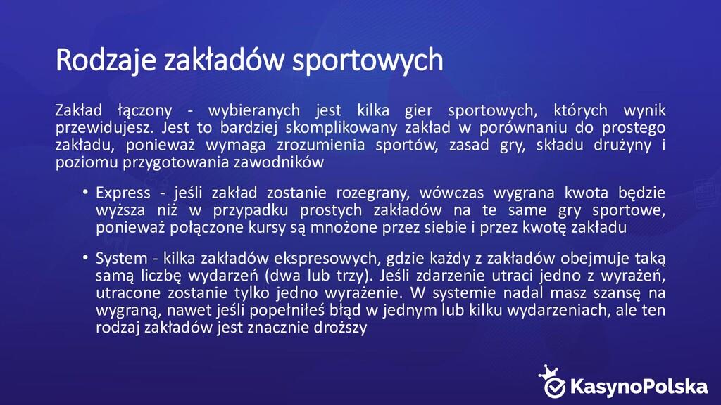 Rodzaje zakładów sportowych Zakład łączony - wy...