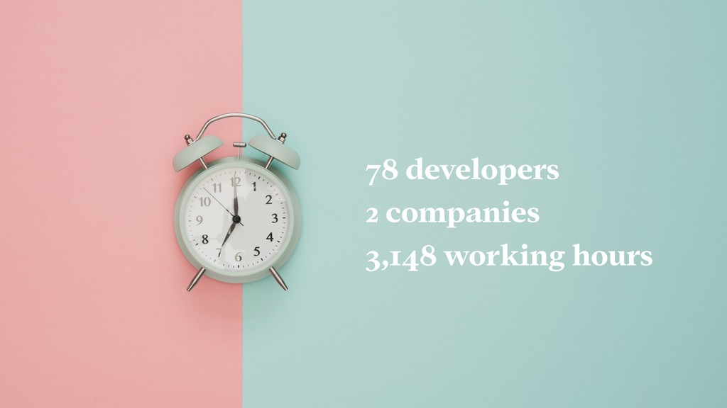 78 developers 2 companies 3,148 working hours