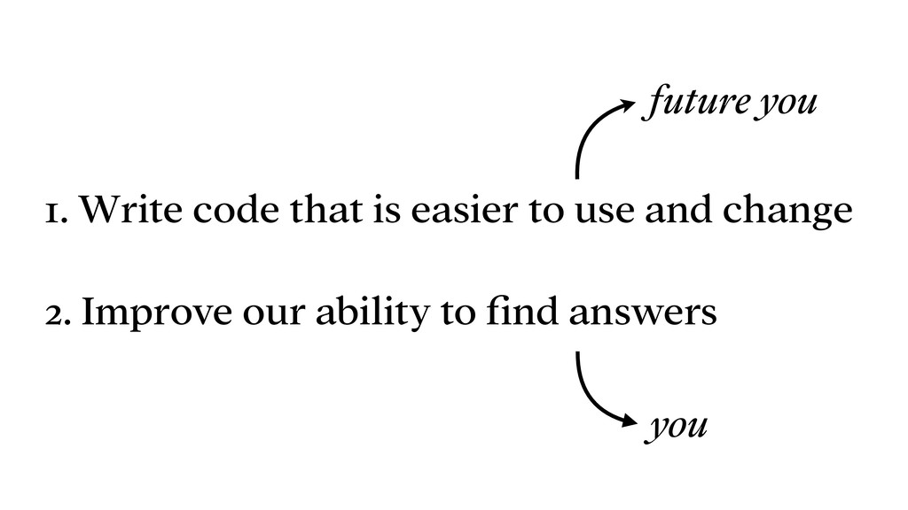1. Write code that is easier to use and change ...