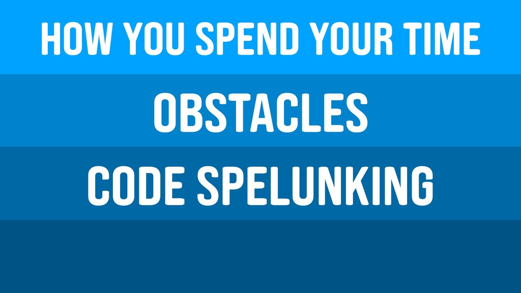 How you spend your time Obstacles Code Spelunki...